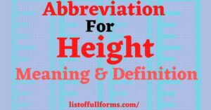 Abbreviation For Height