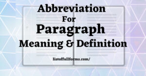 Abbreviation for Paragraph